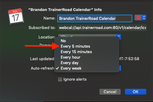 Calendar Export – TrainerRoad