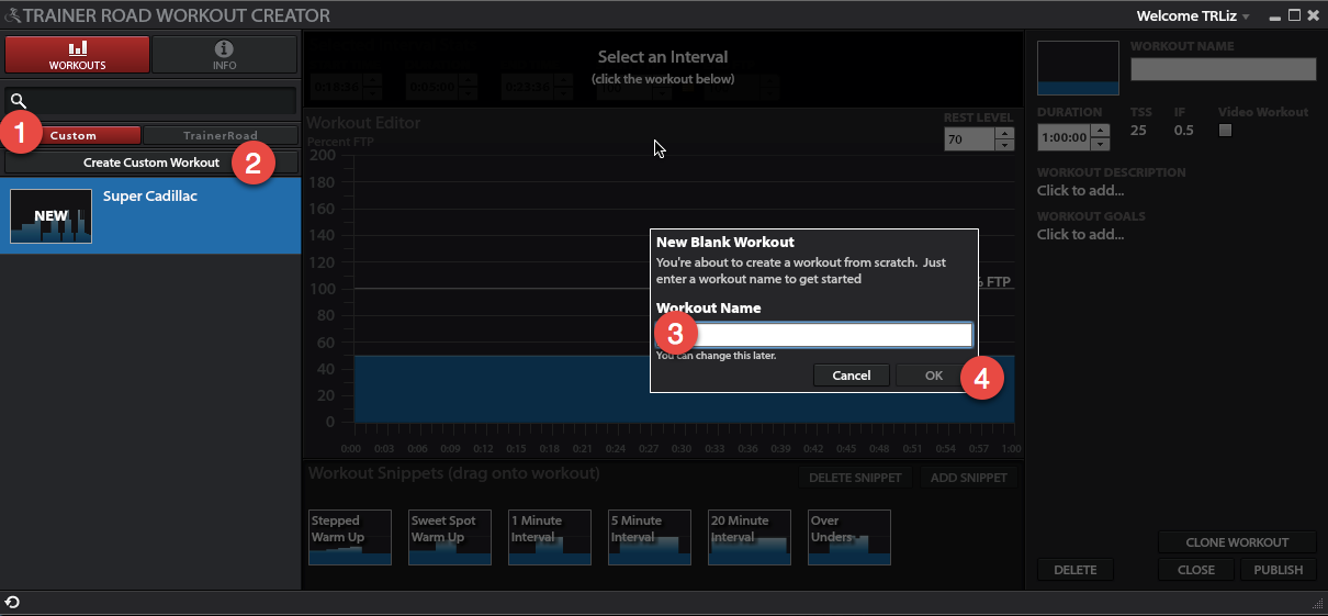 creating a custom workout trainerroad